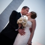 Anna & Tucker Kissing at The St. Louis Arch