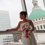 Jamie awaits her Groom overlooking the Old Courthouse in Downtown St. Louis.