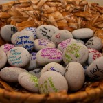 Signing Stones with wishes from Wedding Guests